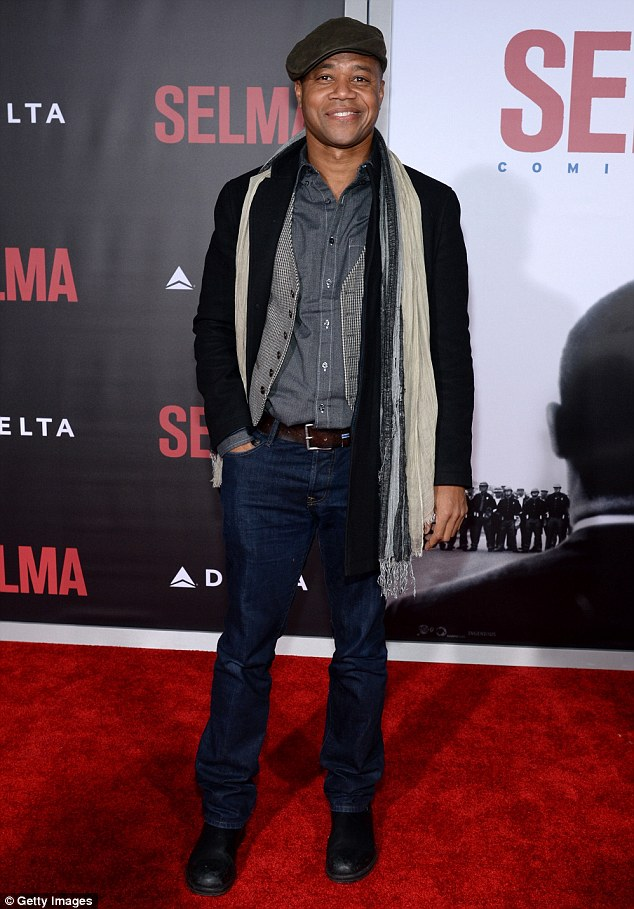 Dapper dude: Cuba Gooding Jr., 46, who plays famed civil rights attorney and activist Fred Gray, arrived in a trendy layered look, including a dark blue-button up, print vest, black jacket, and jeans