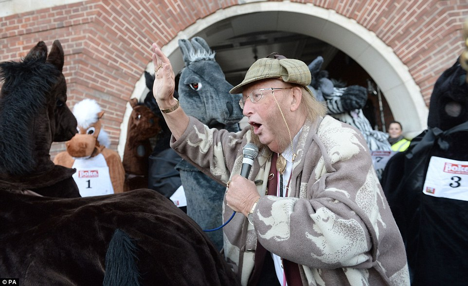 74-year-old John McCririck was at the start line to give the crowds of people advice on which pantomime pairing they should back