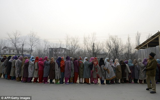 Despite the severely cold weather, Kashmiri voters ignored boycott calls and queued to vote today