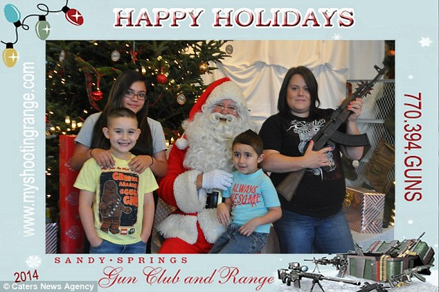 Happy holidays! Visitors as young as six gleefully queuing to meet the AK47-armed king of Christmas