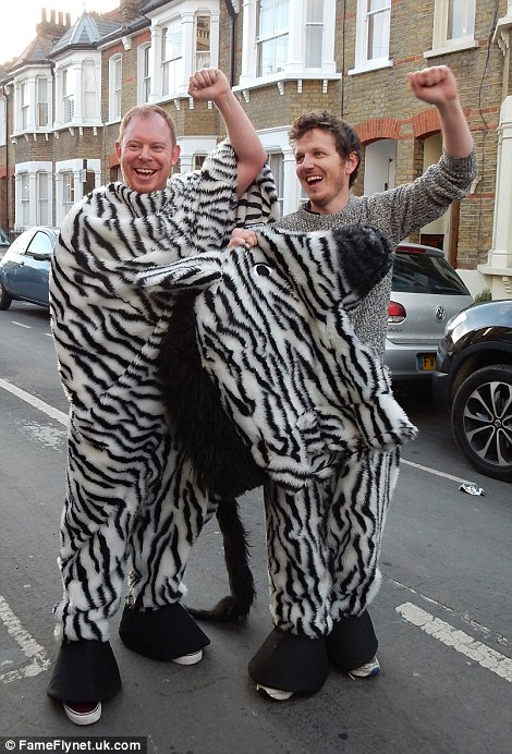 Contestants were invited to dress as pantomime horses, but one pair decided to come as a zebra (left)