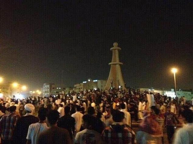 Demonstrators gather in Qatif, in the Shiite-populated east of Saudi Arabia, on July 8, 2012--since 2011, protests and sporadic attacks on security forces ha...