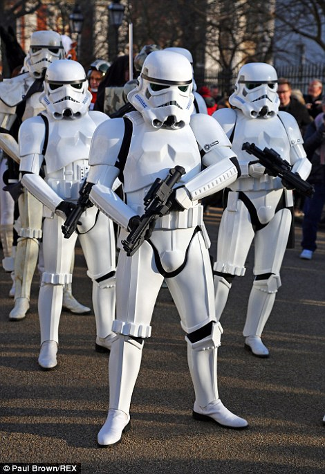 The team of Stormtroopers join the competitors for the race