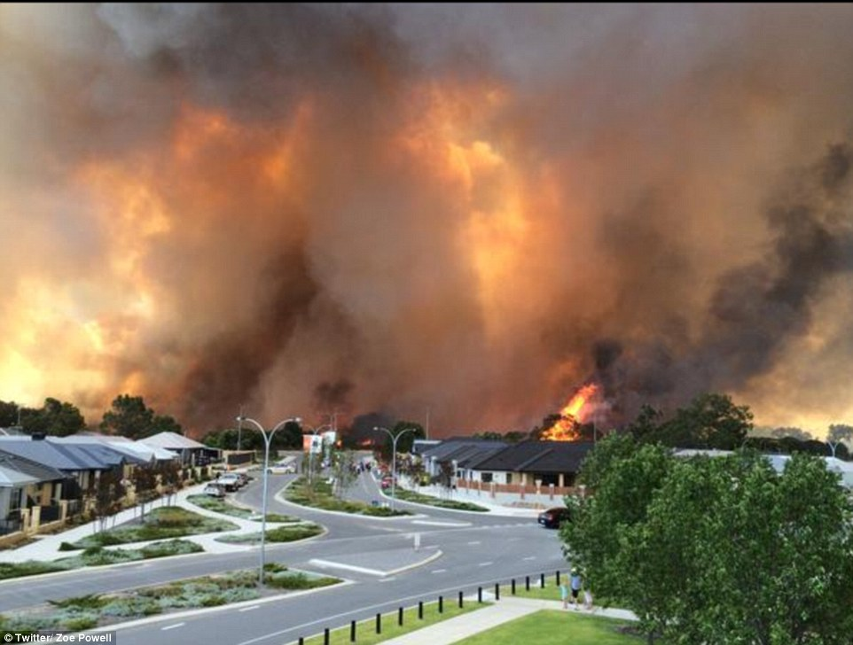 Home and lives were under threat in Whiteman Park, Perth, due to an out-of-control bush fire