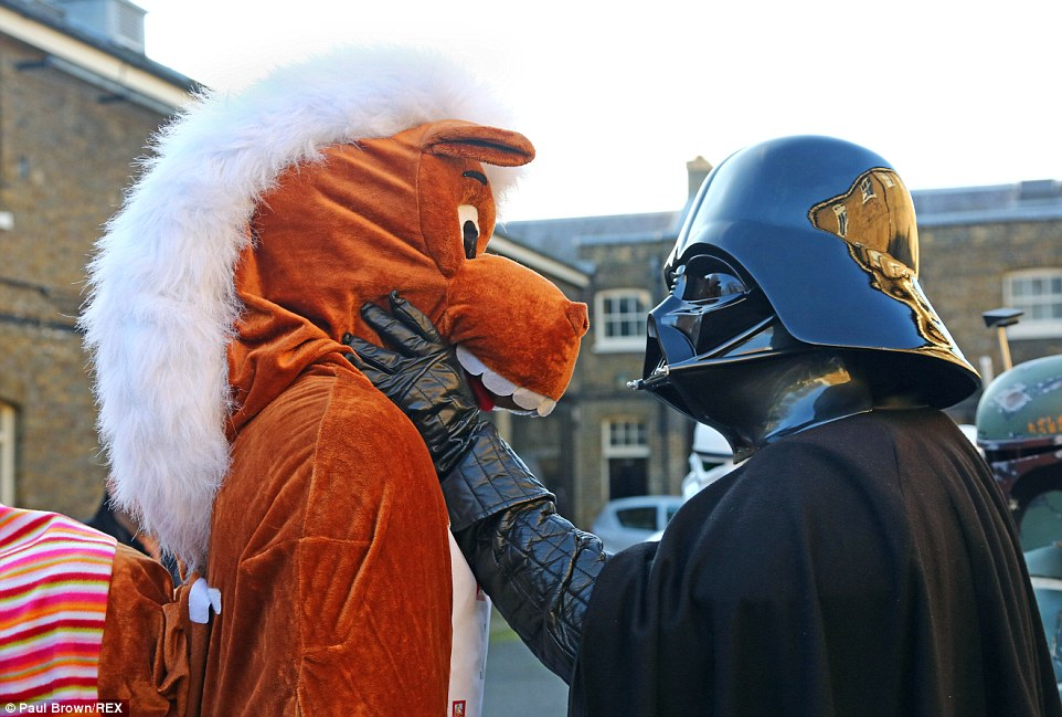 Darth Vader comes face to face with one of the horses in a stand-off like no other, as contestants prepare to run around the streets of London