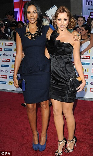Where's Frankie? (L-R) The Saturdays Rochelle Wiseman, Una Healy, Vanessa White and Mollie King posed in pairs on the red carpet without bandmate Frankie Sandford