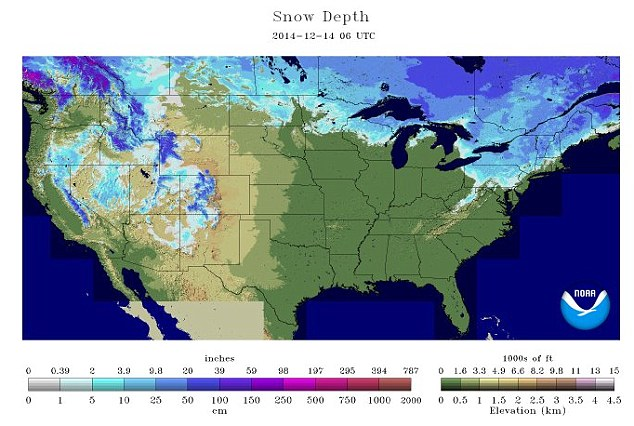 Winter: This graphic, also by NOAA, shows snow depth across the US today (Sunday, December 14)