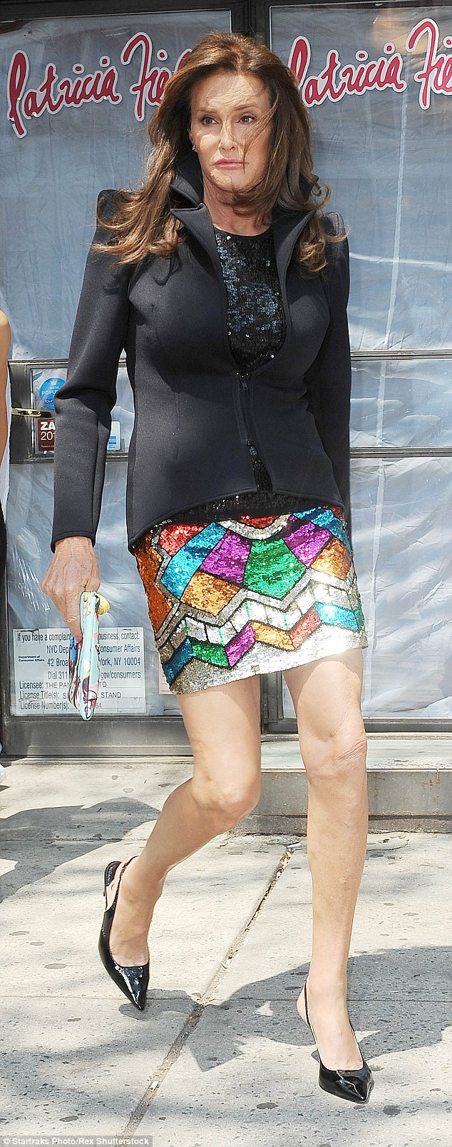 Bright choices: Since transitioning into a woman she has not been afraid to experiment with colour, bold prints or show off her assets - while in NY she went or a short sequined mini which showcased her long legs