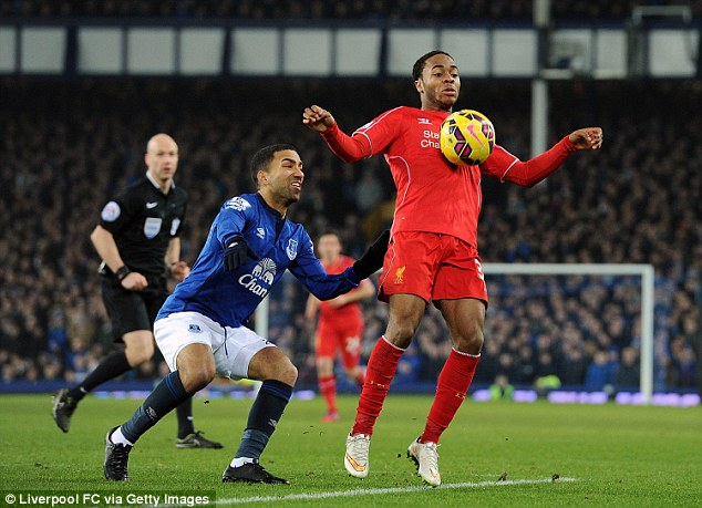 Sterling in action during Saturday's Merseyside derby draw with Everton at Goodison Park