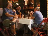 EXCLUSIVE. COLEMAN-RAYNER.  Los Angeles, CA, USA. September 10, 2015. Newly single Jon Hamm is comforted by a close friend as the Mad Men star enjoys a boys night out with 2 male friends at Little Dom's Restaurant in Los Angeles.  CREDIT LINE MUST READ: Karl Larsen/Coleman-Rayner Tel US (001) 323 545 7584 - Mobile Tel US (001) 310 474 4343 - Office www.coleman-rayner.com