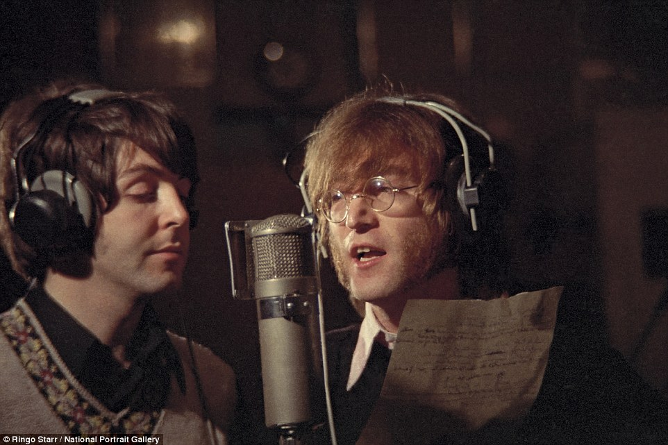 Making music: McCartney and Lennon pictured recording Hey Bulldog in Studio three at Abbey Road Studios on the 11th February 1968