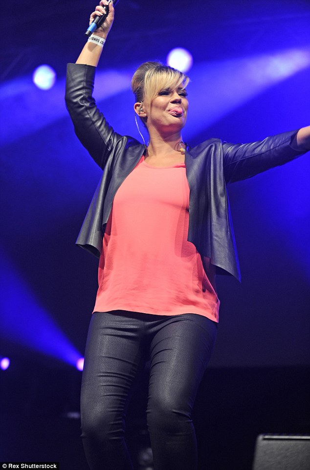Giving it some: Kerry performed at Manchester Pride on Sunday along with Liz McClarnon of Atomic Kitten fame