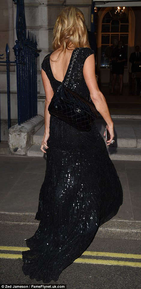 Nicky's sister Paris Hilton showed off her legs for the event in a sequinned black number, split to the thigh