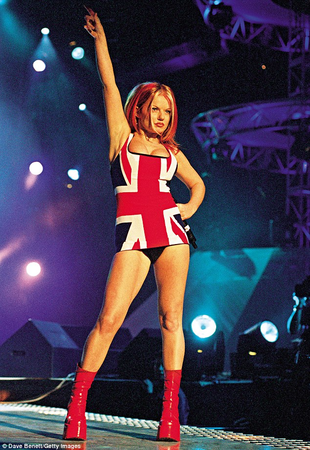 'It was actually a little black Gucci dress I'd been told to wear at the Brits. I took two Union Jack tea towels and sewed them on top. Our stylist wasn't happy; she said it was a big mistake,' said Geri (pictured in 1997)