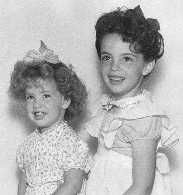 With  Betty in 1945, just before being diagnosed with polio. Her sister died aged 43. 'I miss my sister every day, because she and I grew up in that wacko, dysfunctional family but we got through it,' said Linda