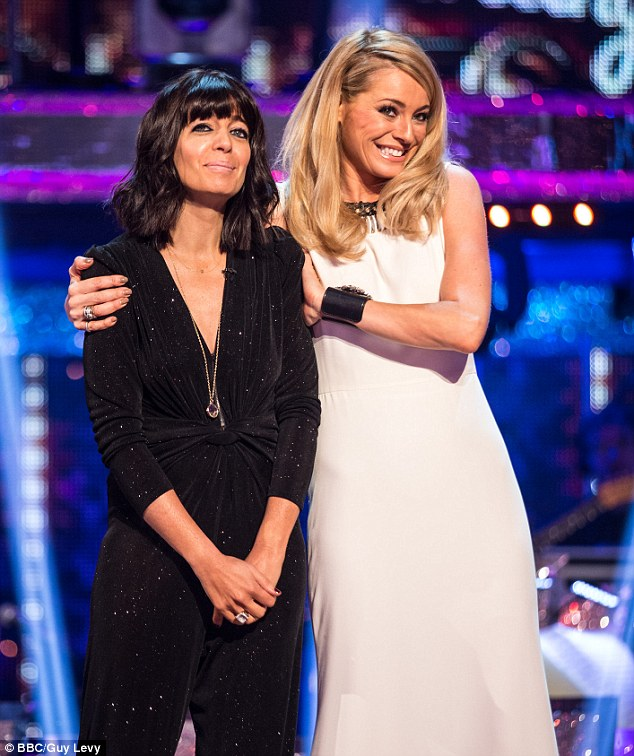 Claudia, pictured with Tess on the Saturday night show, says the pair 'inhale' Maltesers and eat McDonald's burgers on the dressing room when filming wraps