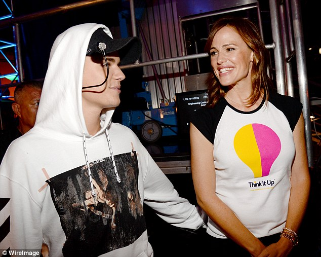 Look out: Ladies man Justin Bieber got a little hands-on with the newly single actress