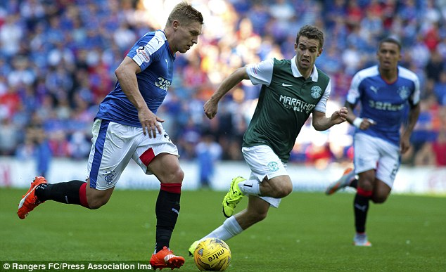 Martyn Waghorn of Rangers makes another foray forward during the clash with Hibernian on Sunday