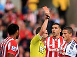 File photo dated 29-08-2015 of Match referee Michael Oliver (second left) sends off Stoke City's Ibrahim Afellay (third right) during the Barclays Premier League match at The Britannia Stadium, Stoke-upon-Trent. PRESS ASSOCIATION Photo. Issue date: Wednesday September 2, 2015. Stoke midfielder Ibrahim Afellay's suspension after his red card against West Brom has been reduced to two games following a successful appeal by the club. See PA story SOCCER Stoke. Photo credit should read Mike Egerton/PA Wire.