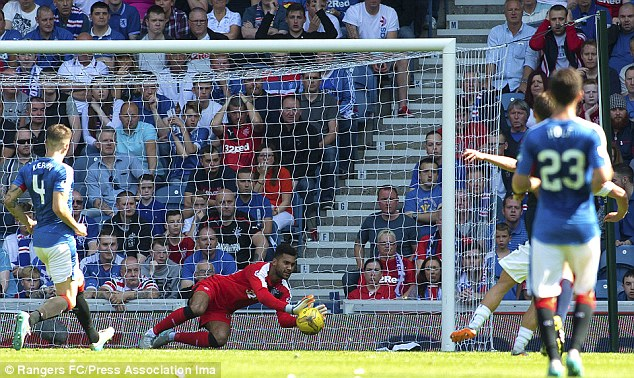 Rangers goal keeper Wes Foderingham saves a shot as the Ibrox side went back top of the league table