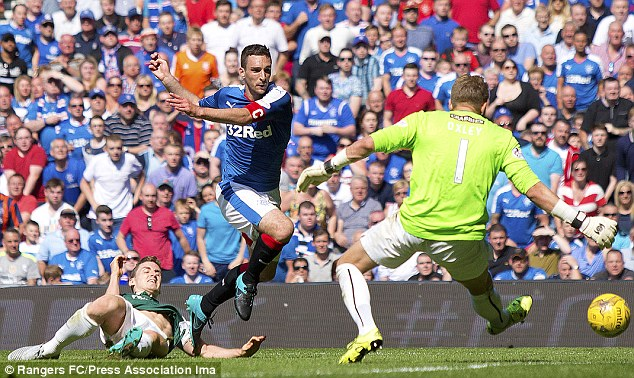 Lee Wallace races through to try and slot home a second for Rangers but couldn't hit the target