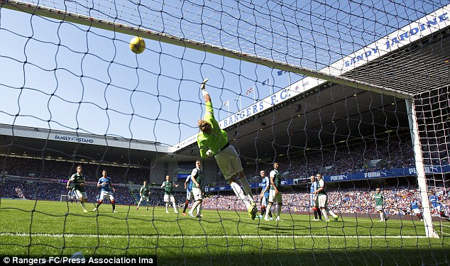 Here's the scene from behind the Hibernian goal asJames Tavernier's second-half free-kick sailed in