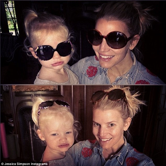 Blonde divas: Jessica recently shared a sunglasses snap with her mini-me - 22-month-old daughter Maxwell