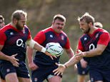 BAGSHOT, ENGLAND - SEPTEMBER 08:  Chris Robshaw offloads the ball to team mate James Haskell during the England training session held at Pennyhill Park on September 8, 2015 in Bagshot, England.  (Photo by David Rogers/Getty Images)