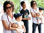 Sara Gilbert and her infant son Rhodes were accompanied by Sara's older son, Levi, out for breakfast at Toast in Beverly Hills, on Saturday, September 12, 2015  X17online.com