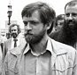Gerry Adams -  President of Sinn Fein (centre) - on a visit to London. His first stop was County Hall, London, for talks with Ken Livingstone (left) and   Piers Corbyn (R). They are walking across Westminster Bridge.   . REXMAILPIX.