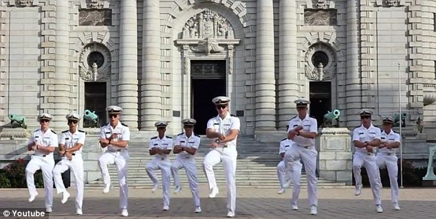 Sailor Style: A group of students from the U.S. Naval Academy do a immaculately timed rendition of the horse riding move in their version of the song