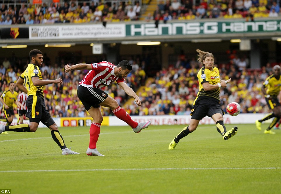 Pelle (2nd right) has a final shot for Southampton before being substituted late in the second half at Vicarage Road