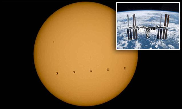 International Space station photobombs the SUN as it hurtles at 17,000mph