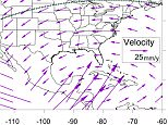 Plate tectonic velocity for North America (