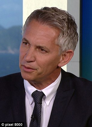 Switchover: A very quick outfit 'change' transformed Lineker's appearance