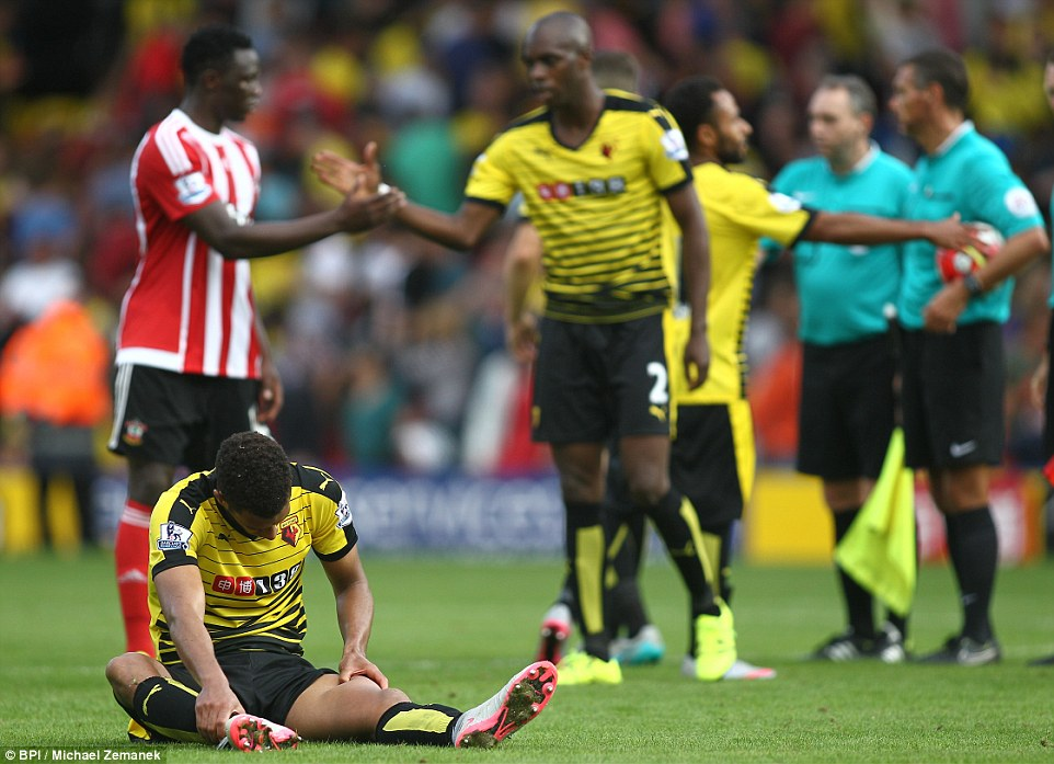 Capoue sits on the pitch dejected after the final whistle, knowing that he missed a chance to take home all three points