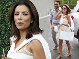 Celebrities attend Day 12 of the US Open in NYC  Pictured: Eva Longoria and Jose Antonio Baston Ref: SPL1123703  110915   Picture by: Ron Asadorian / Splash News  Splash News and Pictures Los Angeles: 310-821-2666 New York: 212-619-2666 London: 870-934-2666 photodesk@splashnews.com
