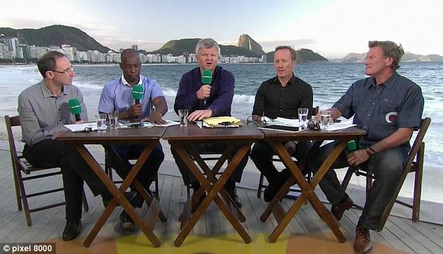 Beach boys: Martin O'Neill, Ian Wright, Adrian Chiles, Lee Dixon and Glenn Hoddle