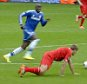 Steven Gerrard of Liverpool mis-controls the ball then slips to let Demba Ba score for Chelsea. Football: Premier League: liverpool 0 Chelsea 2.