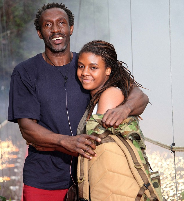 Reunited: An emotional Linford poses with his daughter Briannah after being voted off
