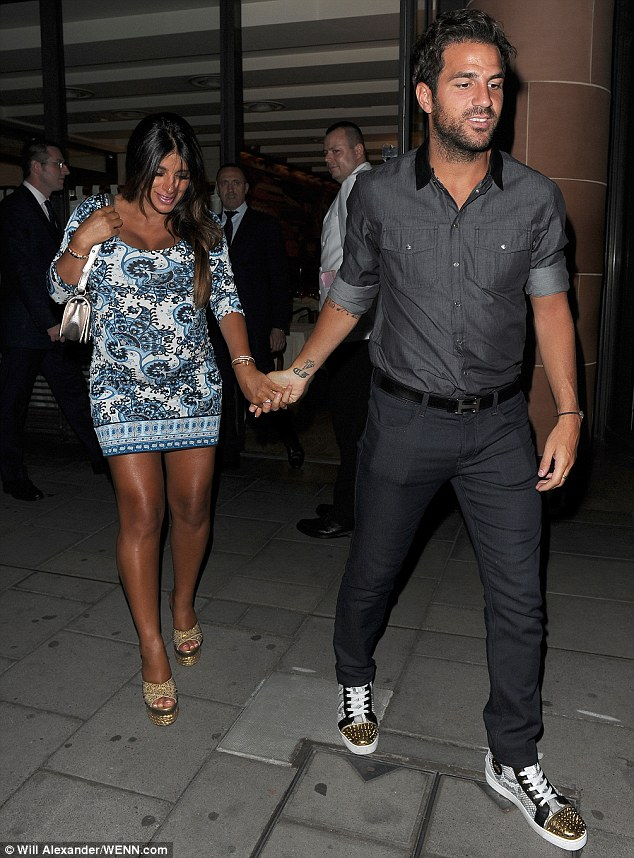 Fabregas was spotted with his pregnant girlfriend Semaan in London on Wednesday night