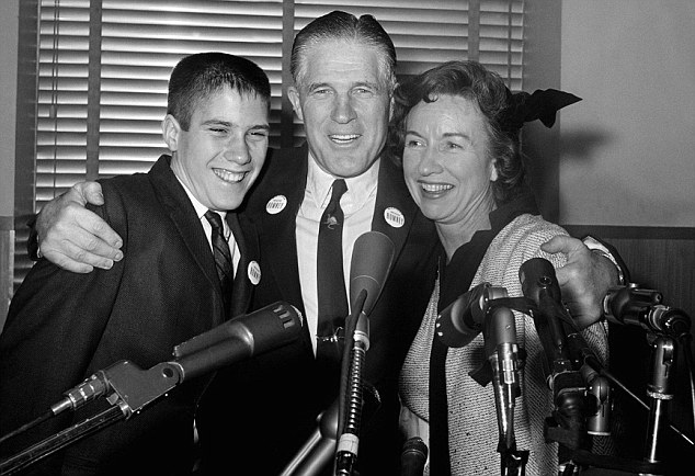 Family politics: Mitt Romney (left) is pictured with his father George and mother Lenore in 1962, one year before Ann Keenan's death