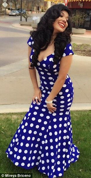 Sent home:Mireya Briceno, pictured, was asked to leave her high school prom because her dress violated the dress code - but her mother says other girls wore similar dresses and were allowed to stay
