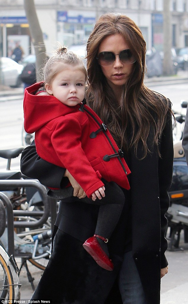 Following in their footsteps: Adorable Harper has one of the most envy-inducing wardrobes of any famous tot