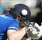 Eoin Morgan of England gets hit on the head from a ball by Mitchell Starc of Australia during the Fifth Royal London One Day International match between England and Australia at the Old Trafford Cricket Ground, Manchester
