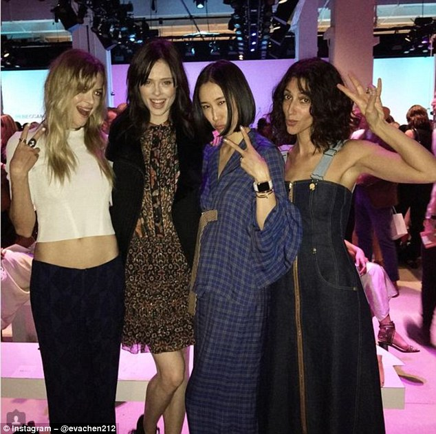 Chen left her role as editor of American fashion magazine Lucky to head up the fashion collaborations department at Instagram. Pictured here at New York Fashion Week with Jamie King and Coco Rocha