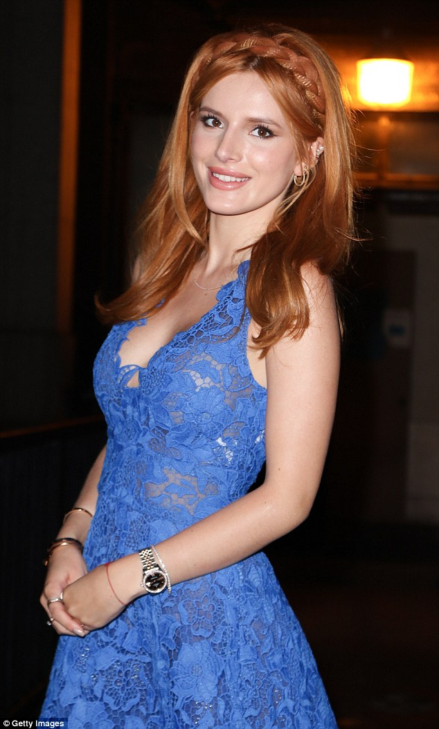 Classy: The 17-year-old, who is in a relationship with British actor Gregg Sulkin, was dressed to impress in a striking blue lacy dress