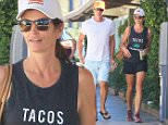 Cindy Crawford and Rande Gerber dressing down in shorts and tank top running errands in Malibu then getting into a big pick up truck September 12, 2015  X17online.com
