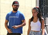 Picture Shows: Shia LaBeouf  August 29, 2015.. .. 'American Honey' actor Shia LaBeouf and a mystery woman hold hands while out for lunch at the Granville Cafe in Sherman Oaks, California. Shia showed off his new Chevy Truck as he left... .. Exclusive All Rounder.. UK RIGHTS ONLY.. .. Pictures by : FameFlynet UK © 2015.. Tel : +44 (0)20 3551 5049.. Email : info@fameflynet.uk.com