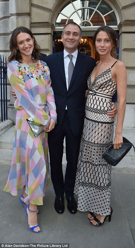 Ben Goldsmith (left, centre) arrived with his wife and Mary-Clare Eliot while Nicky Haslam arrived with a friend (right)